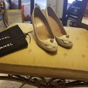 Chanel Linen Tan Shoes Pumps High Heels